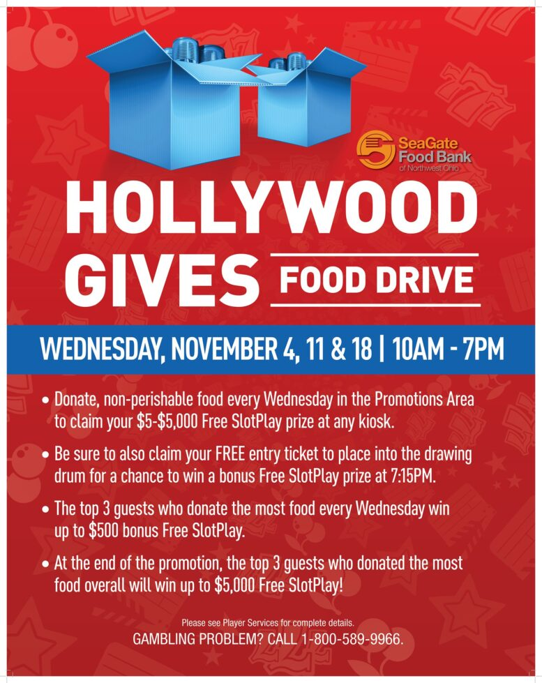 The last day of the Hollywood Gives Food Drive and your last chance to win $5 - $5,000 i...